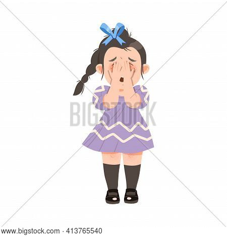 Little Crying Girl Covering Her Face With Her Hands Afraid Of Something Vector Illustration
