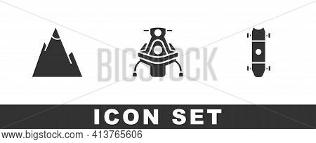 Set Mountains, Snowmobile And Longboard Or Skateboard Icon. Vector
