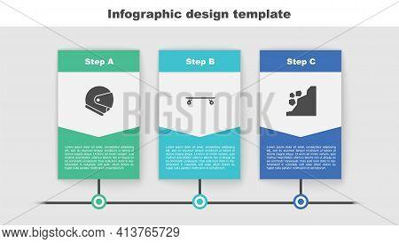 Set Helmet, Longboard Or Skateboard And Landslide. Business Infographic Template. Vector
