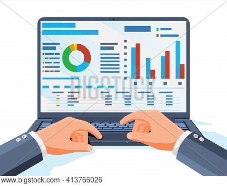 Laptop With Statistical Or Analytical Information. Aanalyst Or Auditor Working On Notebook Device. C