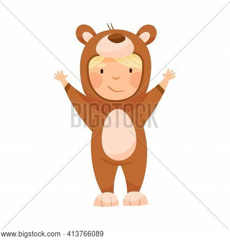 Cute Boy Wearing Bear Costume Role Playing And Having Fun Vector Illustration
