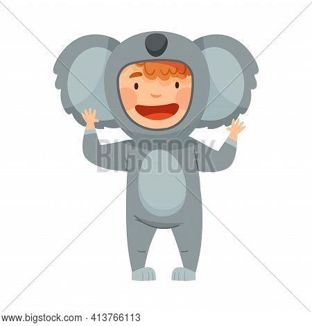Cute Boy Wearing Koala Costume Role Playing And Having Fun Vector Illustration