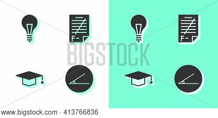 Set Acute Angle, Light Bulb With Concept Of Idea, Graduation Cap And Exam Paper Incorrect Answers Ic