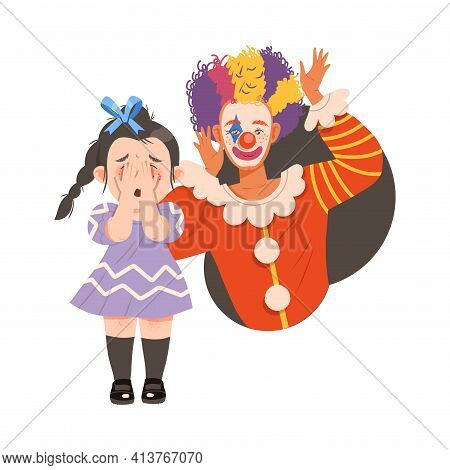 Little Girl Afraid Of Clown And Jester Covering Her Face With Her Hands Vector Illustration