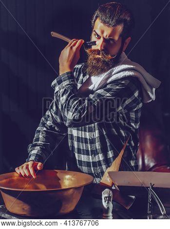Bearded Man Shaves With Razor. Barber With Vintage Razor, Shaving Brush And Foam. Bearded Man, Beard