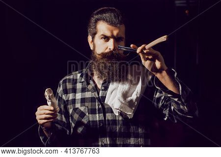 Bearded Man Gay. Modern Man With Classic Long Beard. Barber Straight Razor, Barbershop. Shaving In B