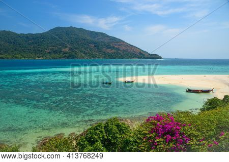 Beautiful Beach And Longtail Boats At Lipe Island, Satun Province, Thailand.