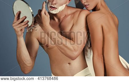 Sensual Couple In Bath. Woman And Man Shaved With Shave Cream. Skincare In Home Bathroom.