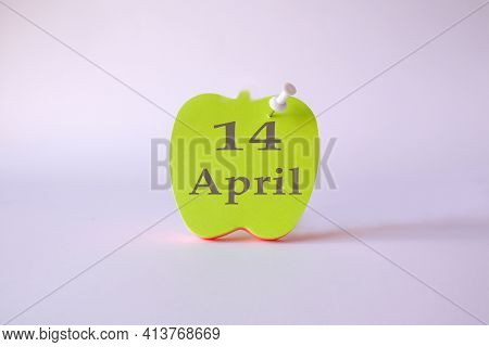 Calendar For April 14 : The Name Of The Month Of April In English, The Numbers 14 On The Sheets For