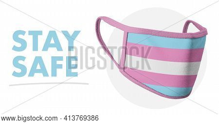 Stay Self. Protective Reusable Fabric Medical Mask. Lgbt Symbols. Transgender Flag. Sexual Identity