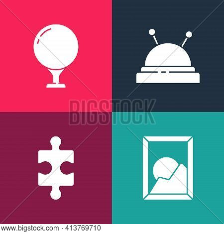 Set Pop Art Picture Landscape, Piece Of Puzzle, Needle Bed Needles And Golf Ball On Tee Icon. Vector