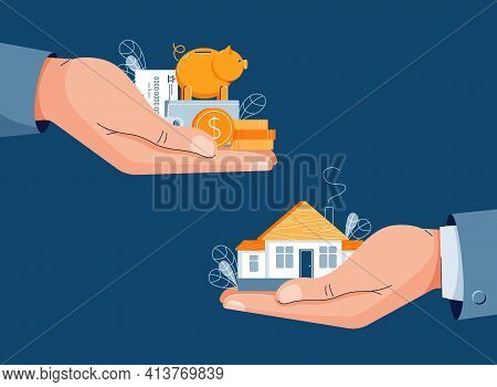 Buying A House Vector Illustration. Buyer Brings Money For Home Purchase Dealing. Seller Gives House