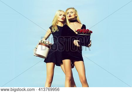 Pretty Cute Girls Or Beautiful Blond Women Twins Has Long Legs In Sexy Dress With Rose Flowers In Bo