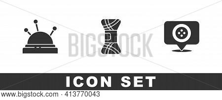 Set Needle Bed And Needles, Yarn And Location Tailor Shop Icon. Vector