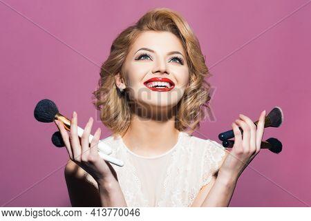 Happy Smiling Girl With Elegant Makeup. Makeup And Cosmetics, Skincare, Visage. Retro Woman With Mak