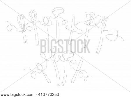 Continuous One Line Drawing. Restaurant Logo. Black And White Vector Illustration. Kitchen Stuff One