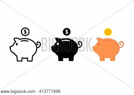 Piggy Bank Icon. Piggy Bank Saving Money Icon In Different Style. Baby Pig Piggy Bank
