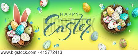 Easter Composition With A Gradient Of Green And Yellow Shades, Eggs In A Basket, Bunny Ears, Snowdro