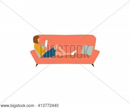 Woman Laying On The Sofa And Reading Book At Home Isolated On White Background. Self Education, Dist