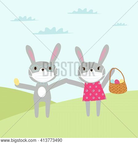 Easter Card Healthy Easter. The Rabbit In The Mask. Easter Bunny In Medical Protective Mask With Eas