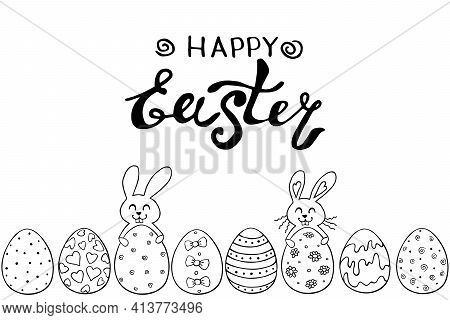 Decorative Easter Eggs And Cute Rabbits With Lettering. Template, Title, Bottom Edging, Border, Deco