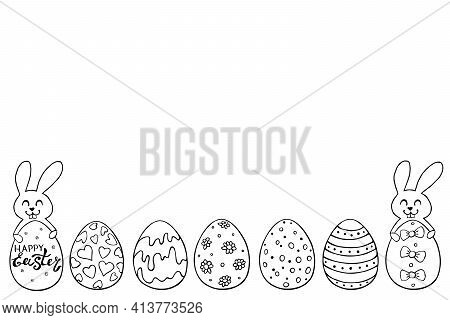 Decorative Easter Eggs And Cute Rabbits. Template, Bottom Edging, Border, Decoration For Greeting Ca