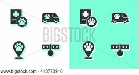 Set Collar With Name Tag, Clinical Record Pet, Location Veterinary And Veterinary Ambulance Icon. Ve