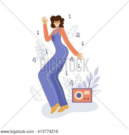Happy Dancing Girl Or Woman Dancing Outdoors Vector Illustration. Morning Dance. Disco Dance.