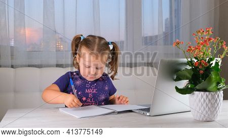 Online Lessons For Children. Homeschooling And Distance Education For Kids. Girl Student Study Onlin