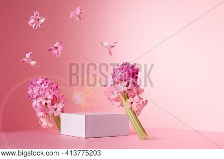 Modern Beauty Fresh Spring Template With White Square Podium For Display Cosmetic, Goods, Hyacinth F