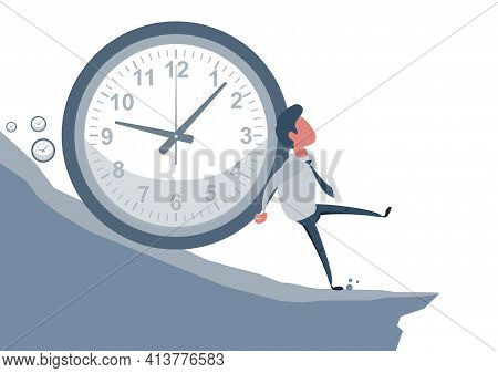 Concept Of The Anxiety Of Passing Time, With A Man Who Tries To Stop Time, Symbolized By A Clock Tha