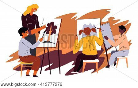 Teacher In Art Classes With Kids Painting Lessons