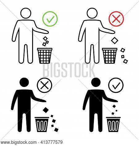 Keeping The Clean. Forbidden Icon. Do Not Throwing Garbage Out The Bin. Throwing Garbage, Icons. Tid