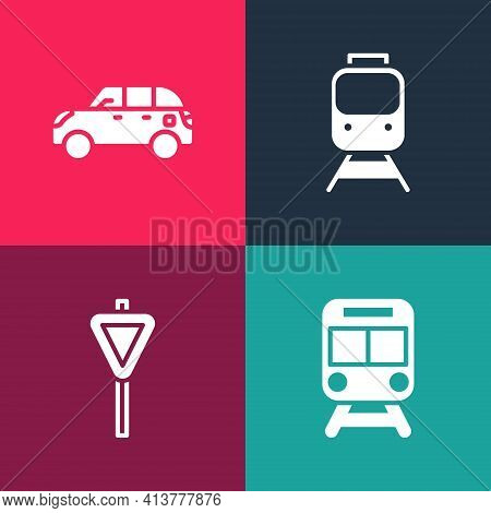 Set Pop Art Train And Railway, Road Traffic Signpost, And Hatchback Car Icon. Vector