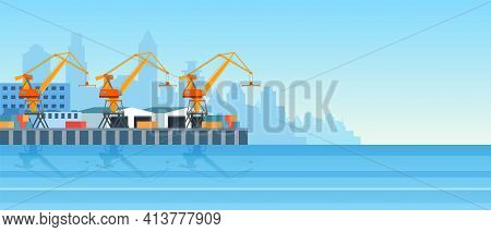 Metropolis Cargo Seaport With Freight Cranes On Shore, Loading, Unloading Containers, Warehouse Hang