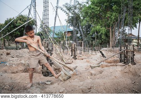 Poor Children Working In Construction, Illegal Child Labor, Concepts Of Human Trafficking And Human