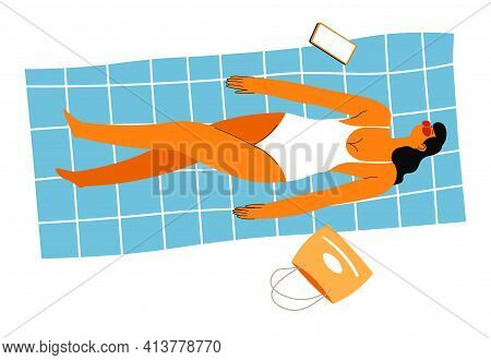 Female Character Laying On Blanket Tanning On Sun