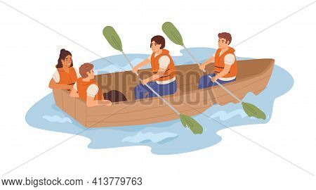Ineffective Team Of Tired Employees And Resting Useless Lazy Coworkers In Boat. Unfair Work Distribu
