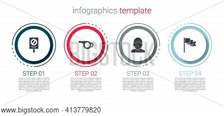 Set Protest, Whistle, Vandal And Location Marker. Business Infographic Template. Vector