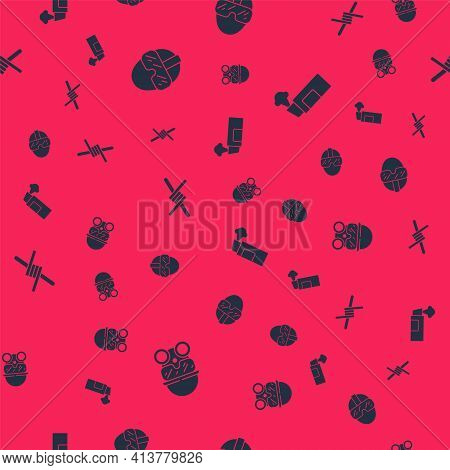 Set Gas Mask, Special Forces Soldier, Barbed Wire And Pepper Spray On Seamless Pattern. Vector