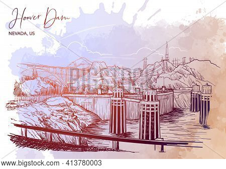 Hoover Dam Stunning Panoramic View. Linear Hand Drawing On A Grunge Spot Ba. Sketch Style. Eps10 Vec