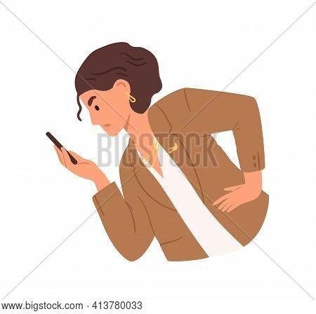 Unhappy Woman Looking At Smartphone Screen, Reading Bad News Or Message. Angry Annoyed Businesswoman