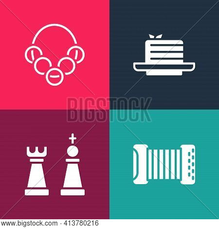 Set Pop Art Accordion, Chess, Medovik And Russian Bagels Icon. Vector