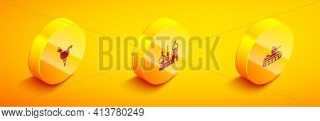 Set Isometric Cockerel Lollipop, Saint Basils Cathedral And Military Tank Icon. Vector