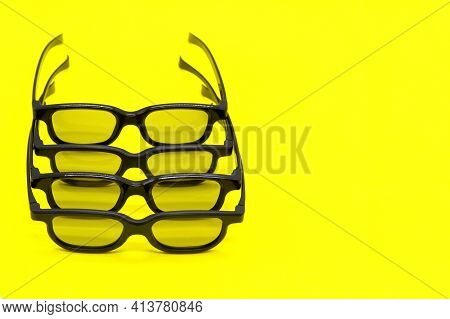 Modern Sun Glasses With Black Frames. 3d Movie Glasses. Stylish Glasses On A Yellow Background. Opti