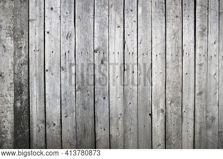 Wooden Weathered Wall Or Fence Made Of Unpainted Boards, Wood Texture For Design