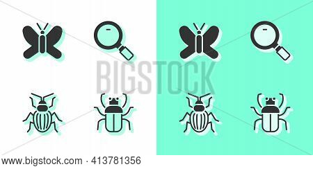 Set Stink Bug, Butterfly, Chafer Beetle And Magnifying Glass Icon. Vector