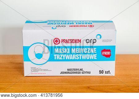 Pruszcz Gdanski, Poland - March 21, 2021: Praesidium Arp Pack Of Three-layer Medical Masks.