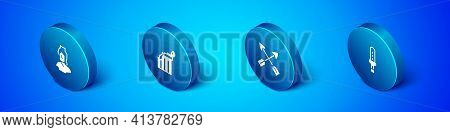 Set Isometric Ancient Bust Sculpture, Crossed Arrows, Medieval Sword And Broken Ancient Column Icon.