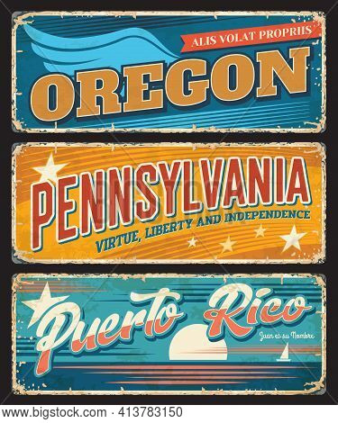 Usa States Travel Vector Metal Banners With Rusty Effects. Oregon, Pennsylvania And Puerto Rico Amer